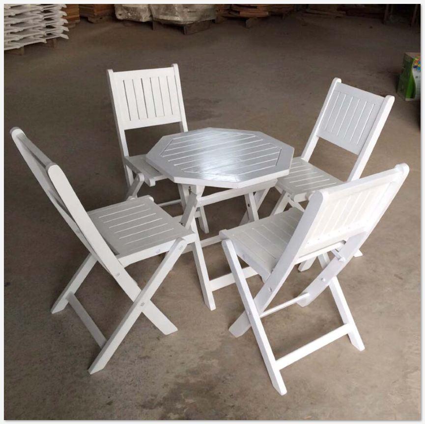 Bàn ghế gỗ xếp sơn bát giác 50xH50cm - Wooden Folding Table Set HT-002B