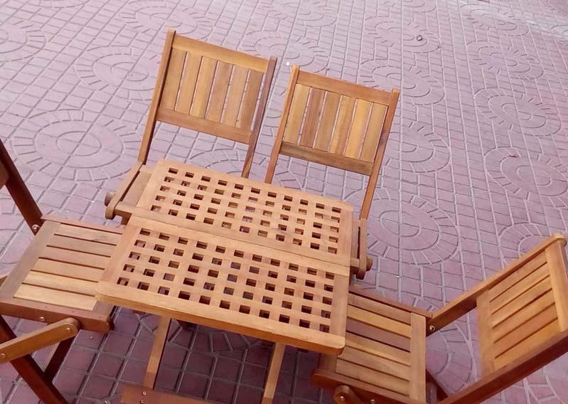Bàn ghế gỗ xếp vuông 50x50xH50cm - Wooden Folding Table Set HT-003A
