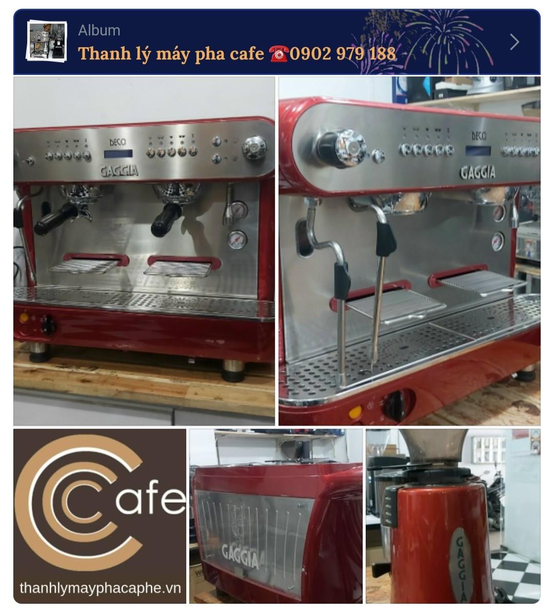 [GIÁ RẺ HƠN 50%] Máy pha cà phê Gaggia cũ Deco D 2 group tặng kèm máy xay nguyên bộ màu đỏ.
