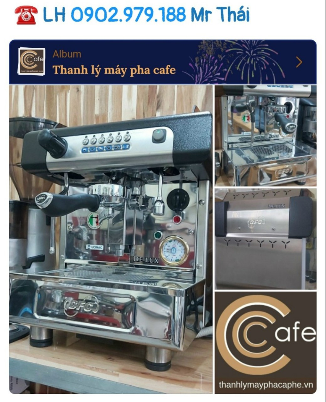 Máy pha cafe espresso thanh lý BFC Delux 1 group nhập khẩu Ý.