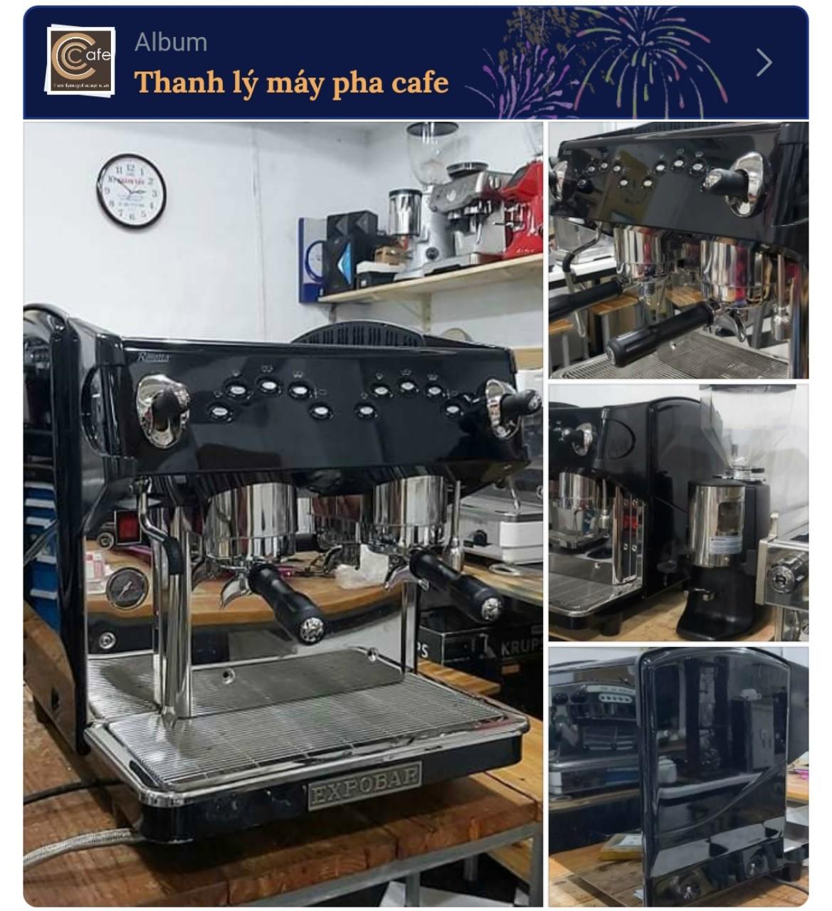 Thanh lý máy pha cà phê hcm: Máy pha cafe Expobar cũ Rosetto nguyên bộ máy xay Sanmarino.