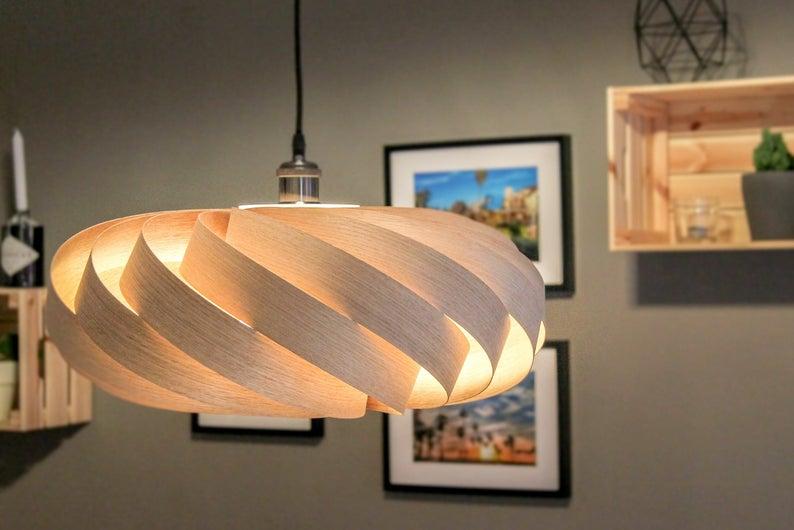 Đèn gỗ Pendulum từ gỗ veneer sồi - thiết kế đèn bàn ăn LS505020