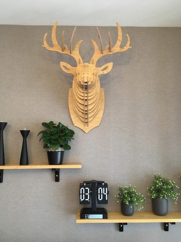 Đầu hươu gỗ ghép treo tường BL523430