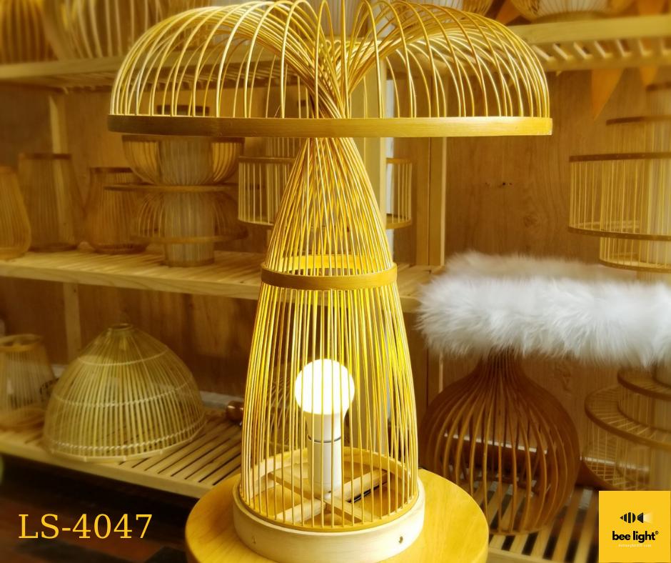 Đèn bàn mây tre đan hình cây nấm LS4047