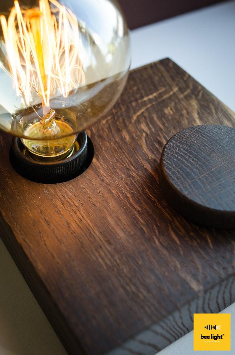 Đèn gỗ để bàn vuông LS1515-Vintage