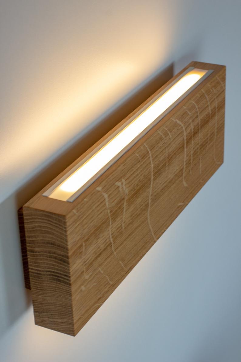 đèn gỗ trang trí ốp tường chữ nhật LS351207