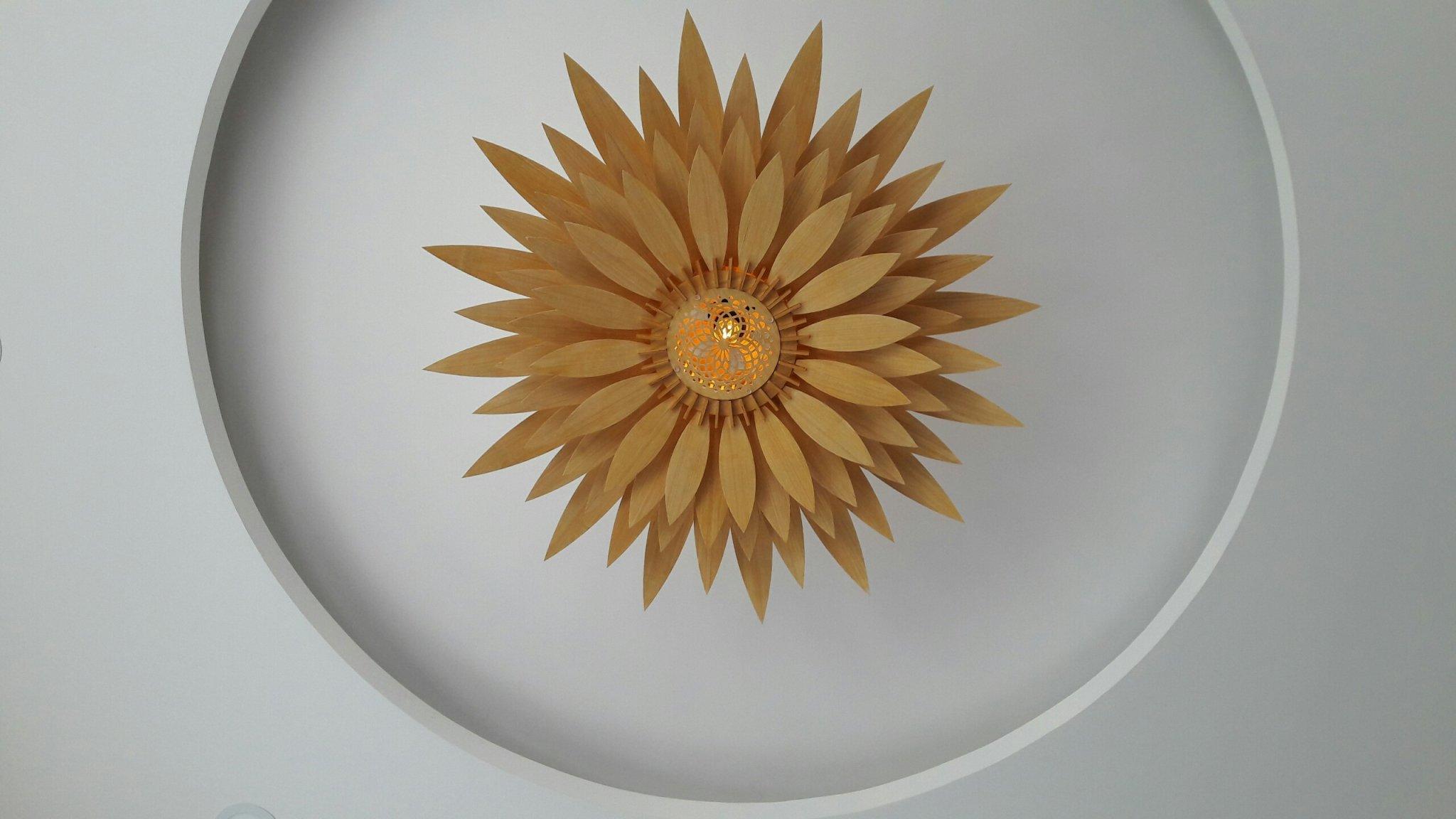 Đèn gỗ trang trí hoa hướng dương LS004