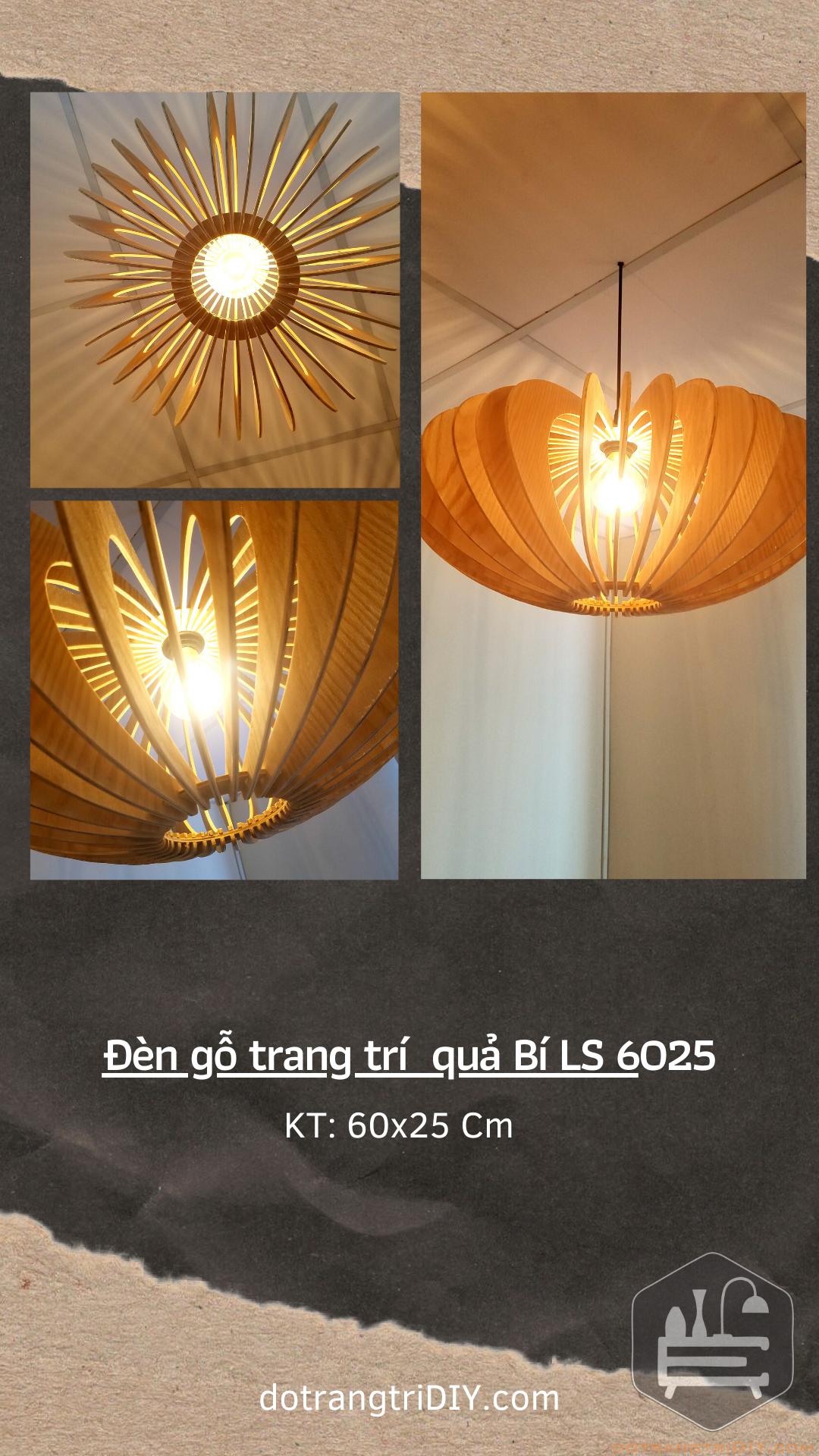 Đèn gỗ trang trí hình quả bí LS6025