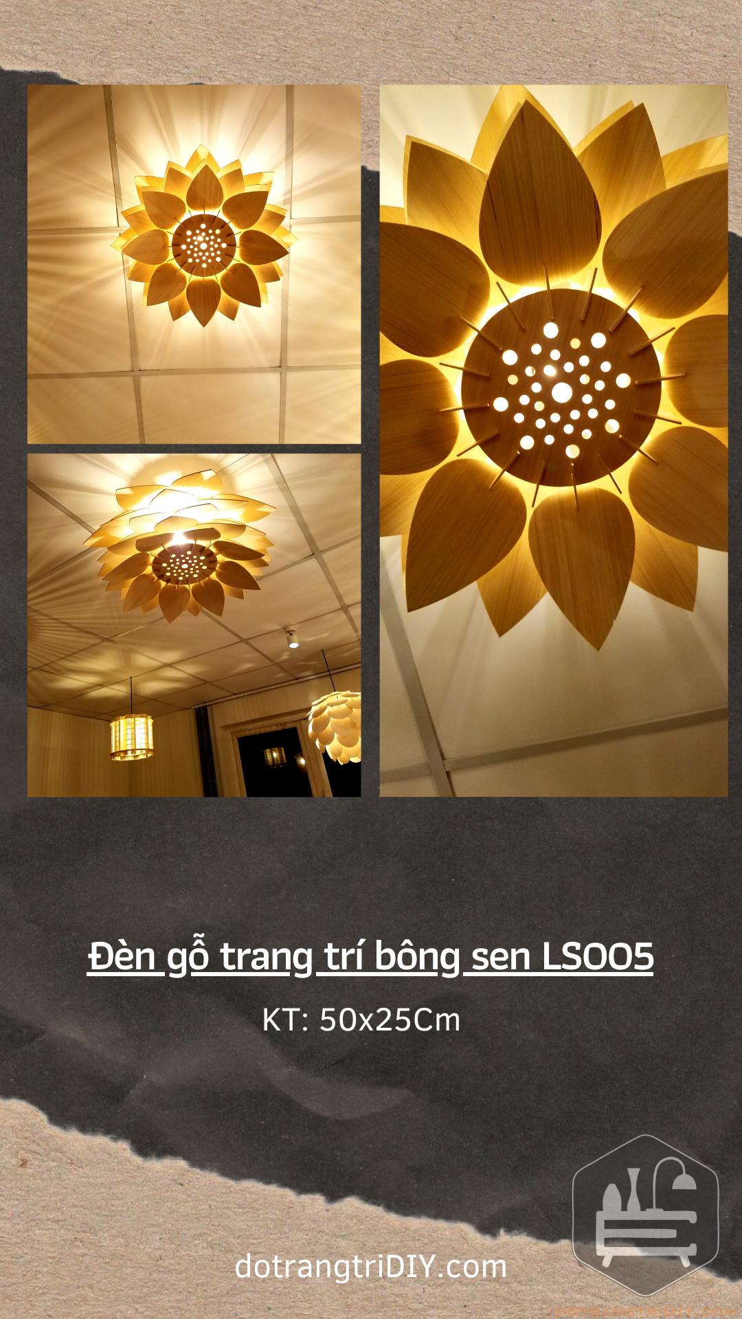 Đèn gĐèn gỗ trang trí bông sen LS005