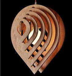 Đèn gỗ trang trí thả trần hình giọt nước WAT001