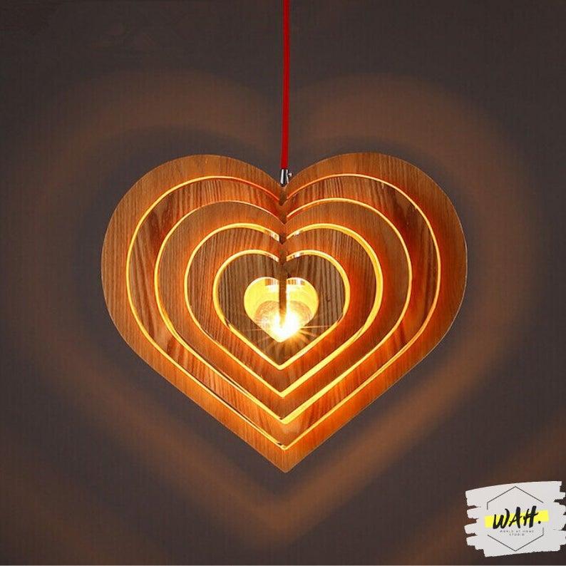 Đèn gỗ trang trí thả trần hình Trái Tim LS303335