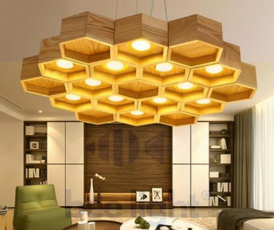 Đèn gỗ trang trí thả trần dạng Tổ Ong LSBEE01