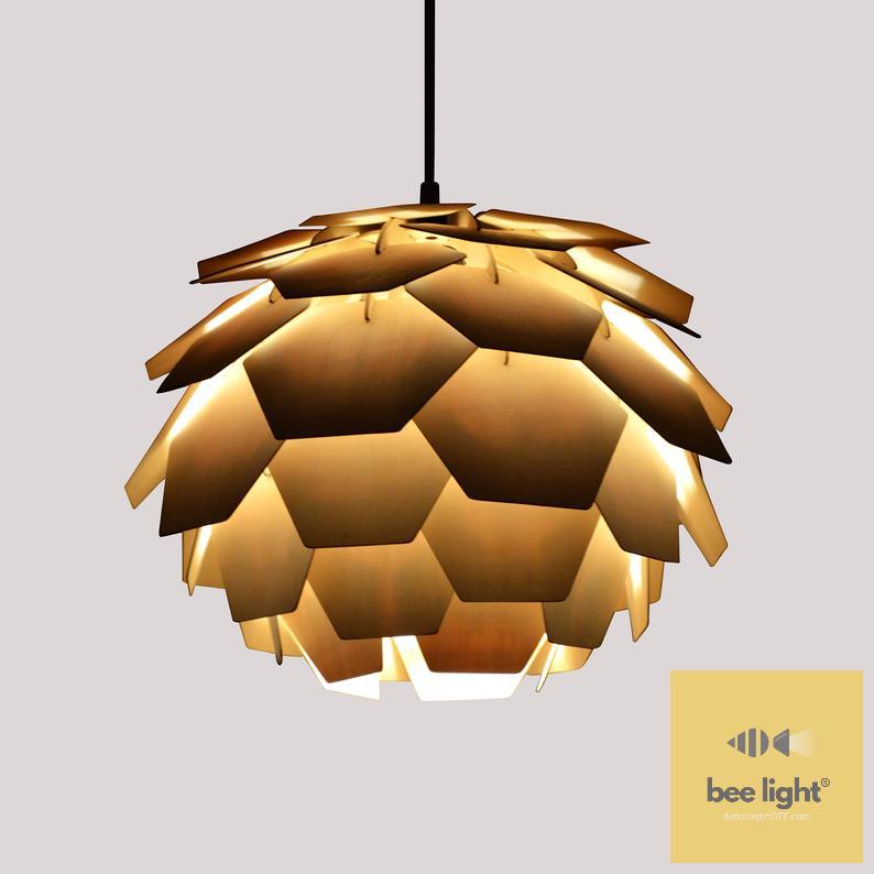 Đèn gỗ trang trí thả trần cánh vuông LS434335
