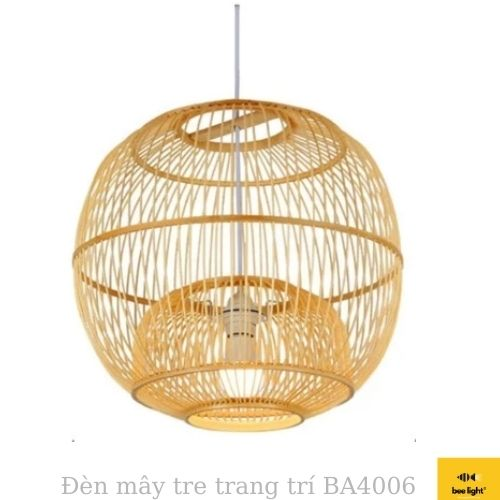 Đèn Mây Tre: Mẫu đèn đan nan tre phong cánh  BA4005  trang trí dạng nấm