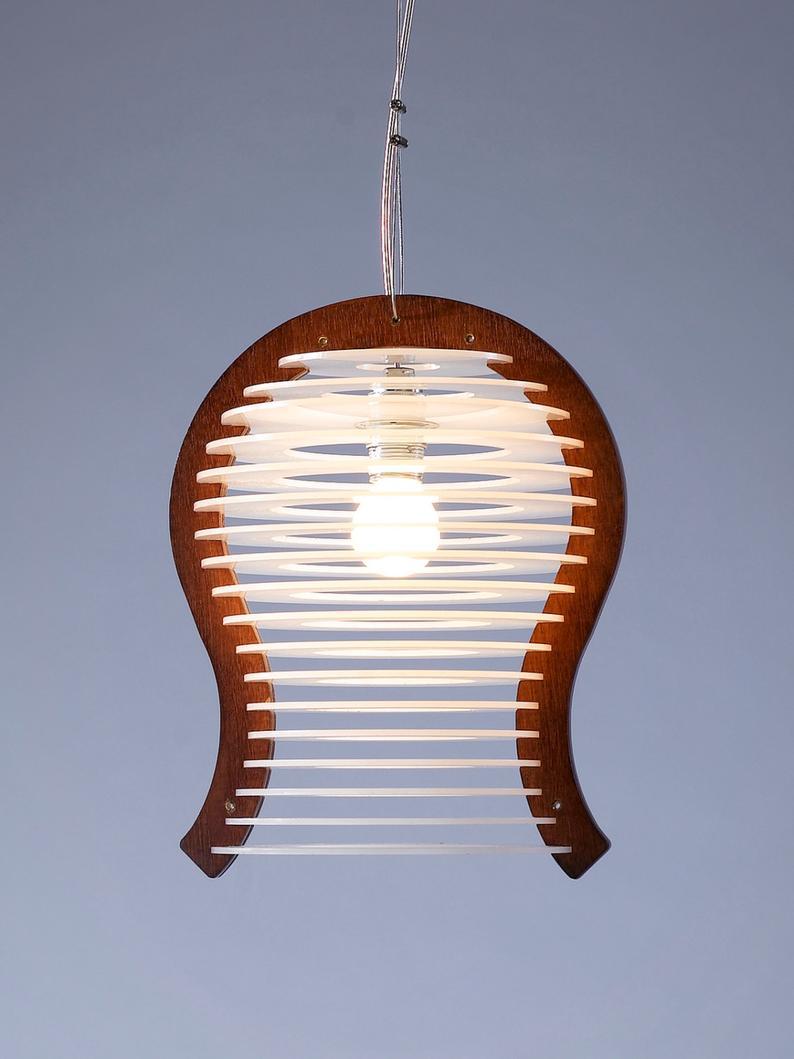 Đèn gỗ trang trí thả trần kết hợp Perspex I LS3021