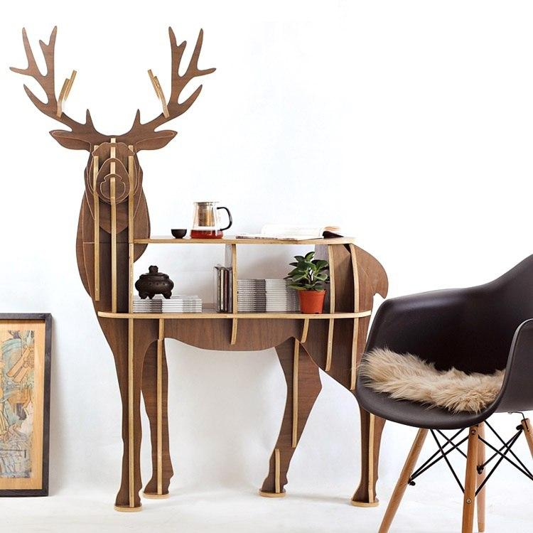 Đồ decor : Kệ gỗ trang trí hình Hưu đẹp đa chức năng