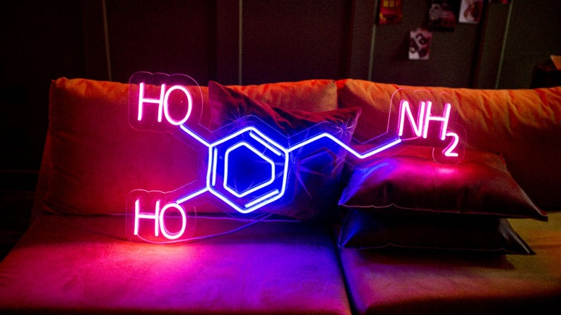 "Led Neon Sign "" Little Molecule of Dopamine"""