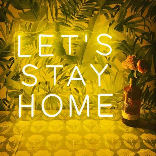 "Led Neon Sign ""''LET'S STAY HOME' NEON SIGN ''"