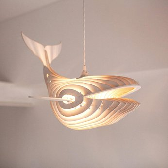 Đèn gỗ trang trí thả trần tạo hình Cá Voi độc đáo WHALE0320
