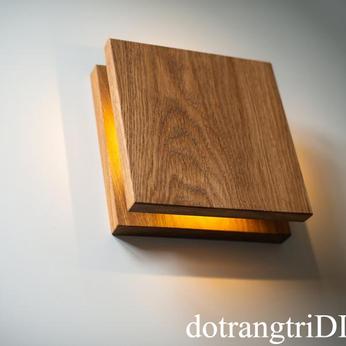 đèn gỗ trang trí ốp tường vuông LS222207