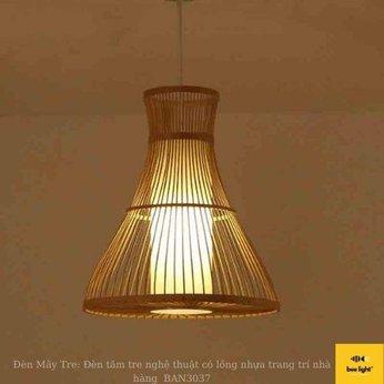 Đèn Mây Tre: Đèn tăm tre nghệ thuật có lồng nhựa trang trí nhà hàng  BAN3037