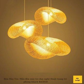 Đèn Mây Tre: Mẫu đèn mây tre đan nghệ thuật trang trí  phòng khách BA5018