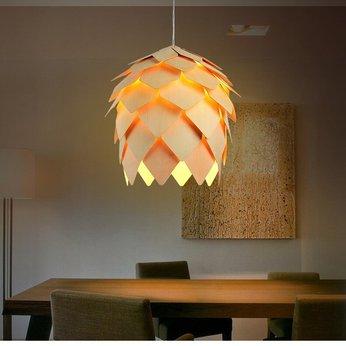 Đèn gỗ trang trí hình quả thông LS006