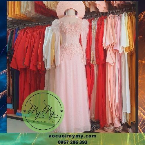 Áo dài ren hồng Kết hoa tay bồng