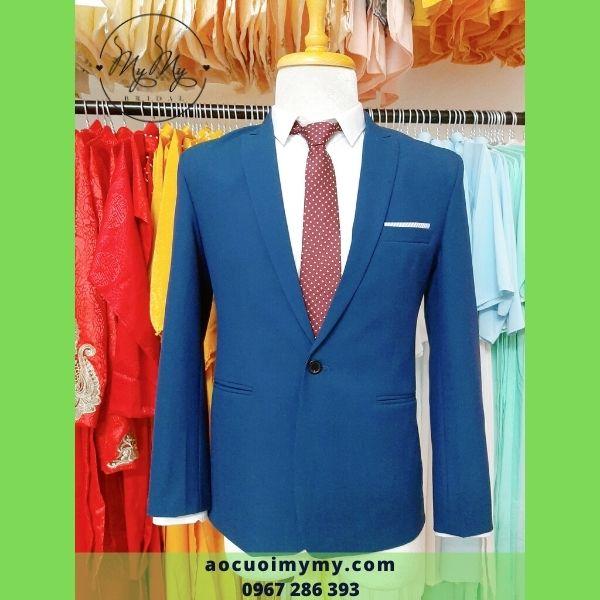 Áo vest chú rể xanh dương hoa văn chìm - cho thuê bán áo vest chú rể Gò Vấp