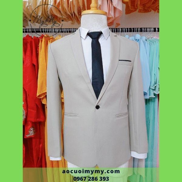 Áo vest chú rể xám trơn  trẻ trung - cho thuê áo vest  rẻ chú rể Gò Vấp Hồ Chí Minh