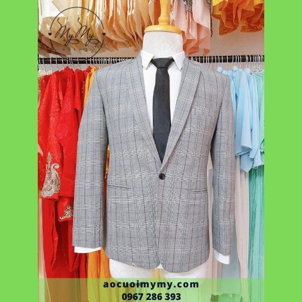 Áo vest chú rể  Caro xám  thời trang - cho thuê áo vest chú rể Gò Vấp Hồ Chí Minh