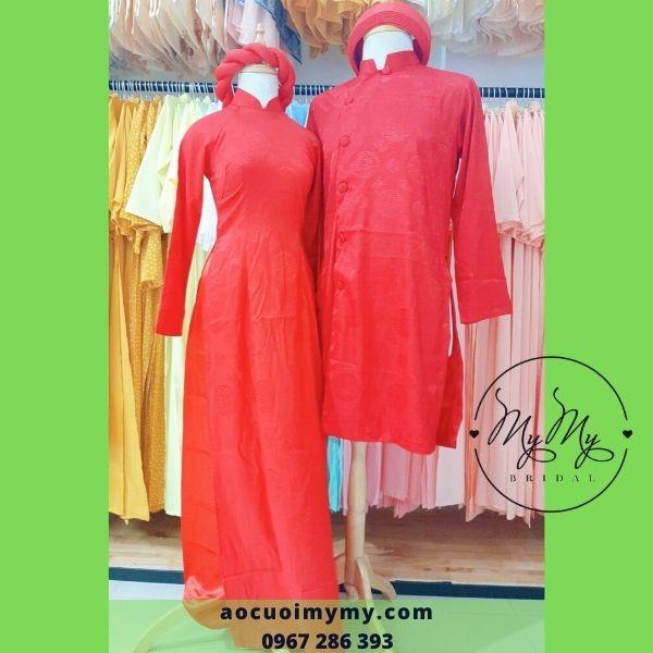 Áo dài cưới cô dâu chú rể gấm đỏ  cách tân