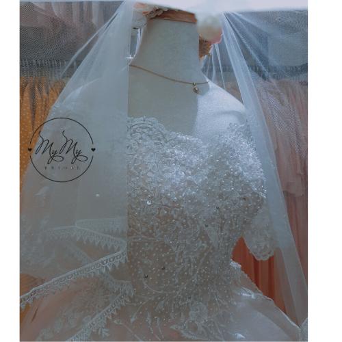 Soiree cưới Trắng  cúp ngực ren hoa - Dịch vụ cho thuê và bán áo cưới quận 1 2 3 4 5 6 7 8 9