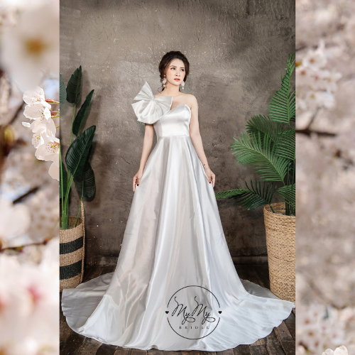 Áo cưới thiết kế trắng cúp ngực kết hợp Nơ vai sáng tạo- Áo cưới My My
