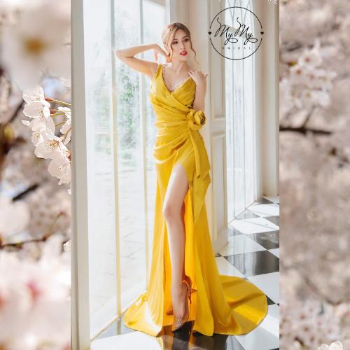 Áo đầm dạ hội cưới màu vàng chanh xẻ đùi - Áo cưới My My