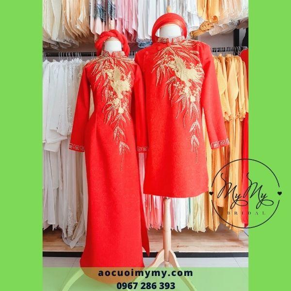 Áo dài cặp cô dâu chú rể gấm xốp đỏ