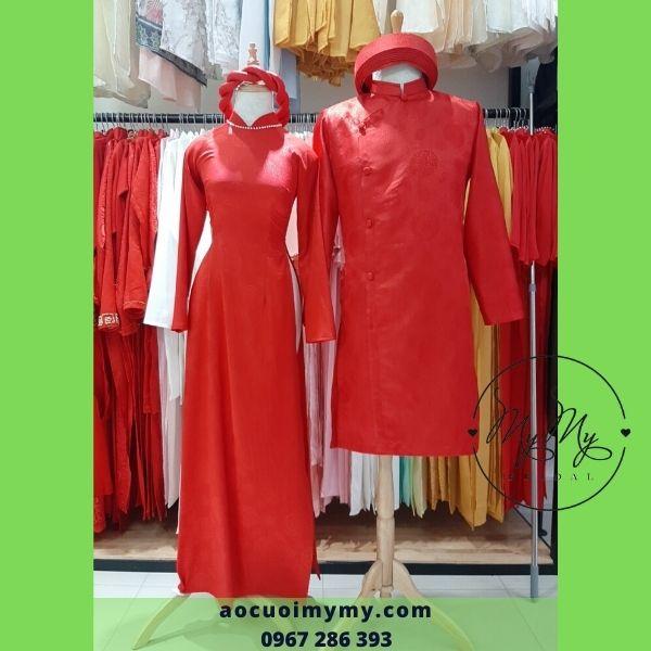 Áo dài cặp cô dâu chú rể Gấm đỏ- cho thuê áo dài cô dâu chú rể