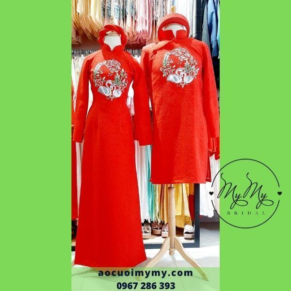 Áo dài cô dâu  gấm đỏ thêu đôi chim thiên nga - Áo cưới MY MY cho thuê áo dài rẻ đẹp