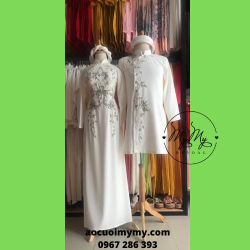 Áo dài cặp cô dâu chú rể đính kết pha lê