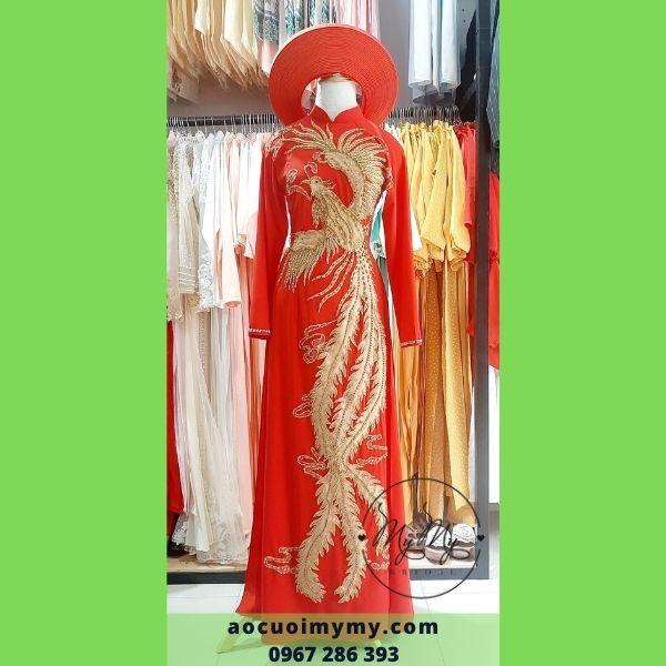 Áo dài cô dâu  chất liệu lụa hàn, 4 tà đính kết pha lê hình phụng hoàng - Áo cưới MyMy cho thuê, bán áo dài rẻ đẹp Gò Vấp