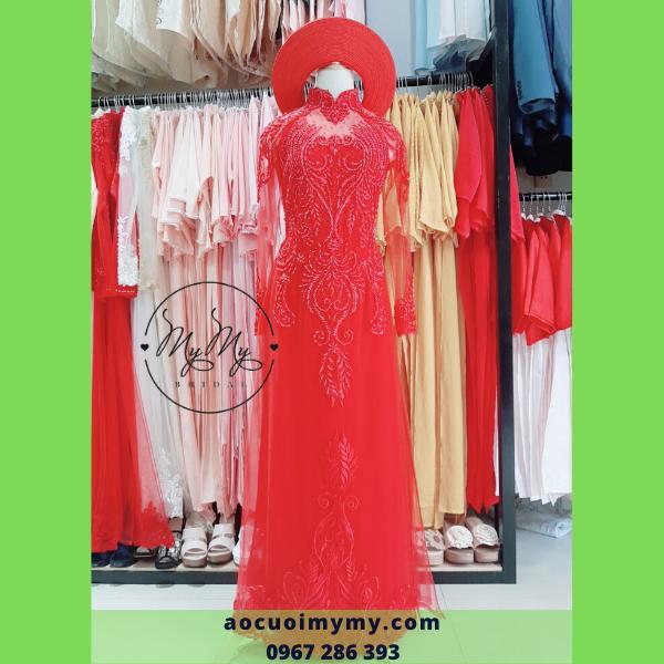 Áo dài voan đỏ đính kết hạt chai - cho thuê bán áo dài cô dâu giá rẻ