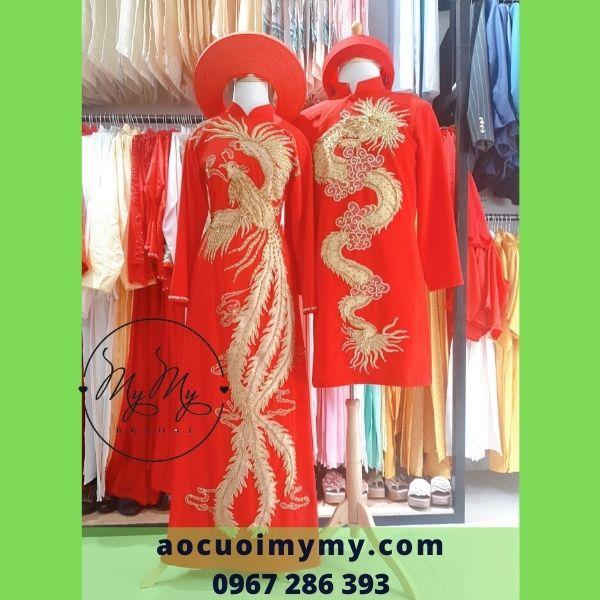Áo dài cặp cô dâu chú rể đính kết pha lê rồng phụng