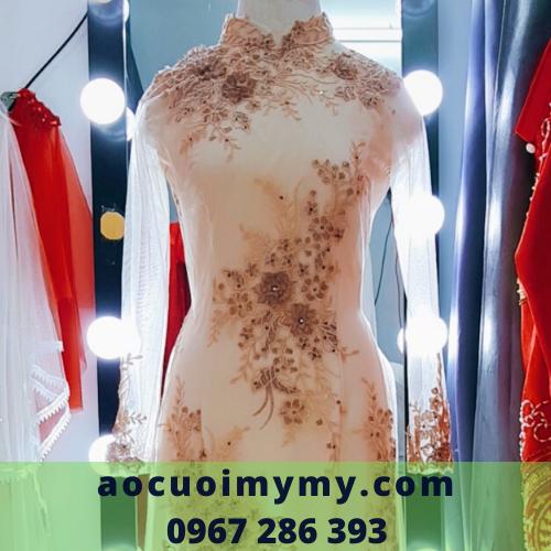 Áo dài bà sui  Voan 4 tà kết hoa 3D - cho thuê áo dài cưới