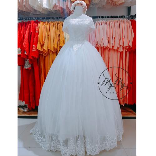 Soiree Trắng cúp ngực tùng xoè đình hat trai - dịch vụ cho thuê bán áo cưới cô dâu Bình Thạnh