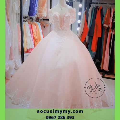 Váy cưới màu hồng voan hồng - Cho thuê bán Soiree giá rẻ Gò Vấp