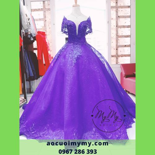 Áo cưới Voan màu tím kết pha lê - Cho thuê áo cưới soiree cô dâu rẽ Gò Vấp