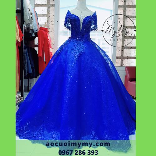 Váy cưới voan xanh coban tùng rộng - Cho thuê áo cưới soiree Gò Vấp