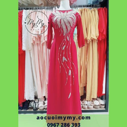 Áo dài mẹ lụa đỏ kết hạt chai - Cho thuê áo dài sui gia