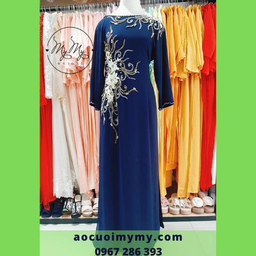 Áo dài mẹ lua xanh kết hạt chai- Cho thuê bán áo dài mẹ mẫu mới