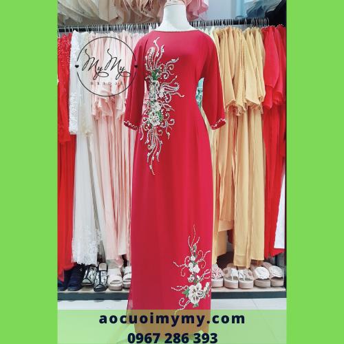 Áo dài bà sui lụa đỏ kết hạt chai - cho thuê áo dài sui gia giá rẻ